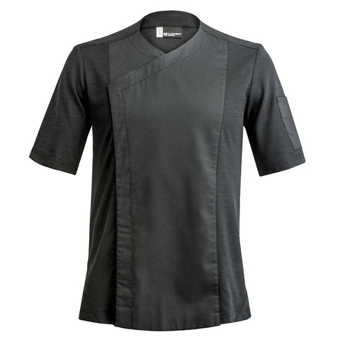 ZEST men's short sleeve black hybrid material chef jacket