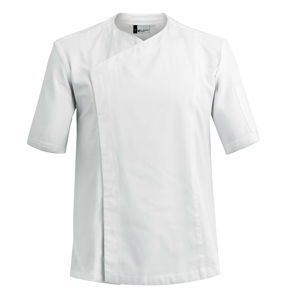 ZEST collarless white hybrid material chef jacket
