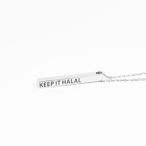 Keep It Halal Bar Necklace - Silver (NEW) - GetDawah Muslim Clothing