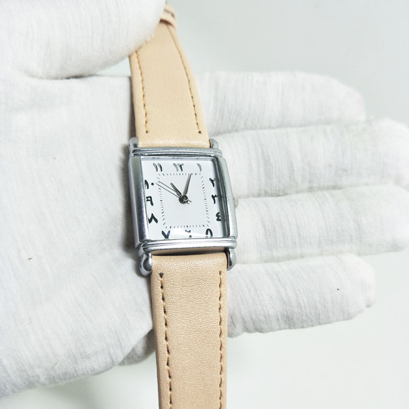 Square Baby Pink Women Leather Watch - GetDawah Muslim Clothing