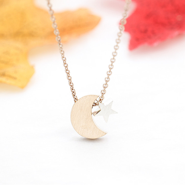 Crescent Moon & Star Necklace - Rose Gold (NEW) - GetDawah Muslim Clothing