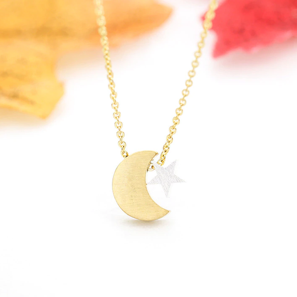 Crescent Moon & Star Necklace - Gold (NEW) - GetDawah Muslim Clothing