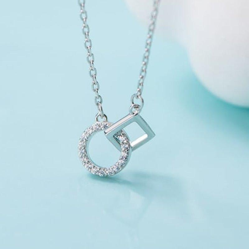 Rhinestone Geometric Necklace - Sterling Silver AlifJewellery