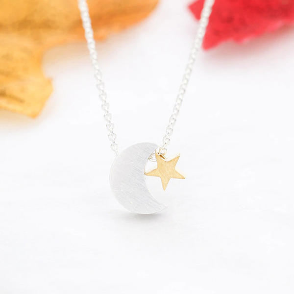 Crescent Moon & Star Necklace - Silver (NEW) - GetDawah Muslim Clothing