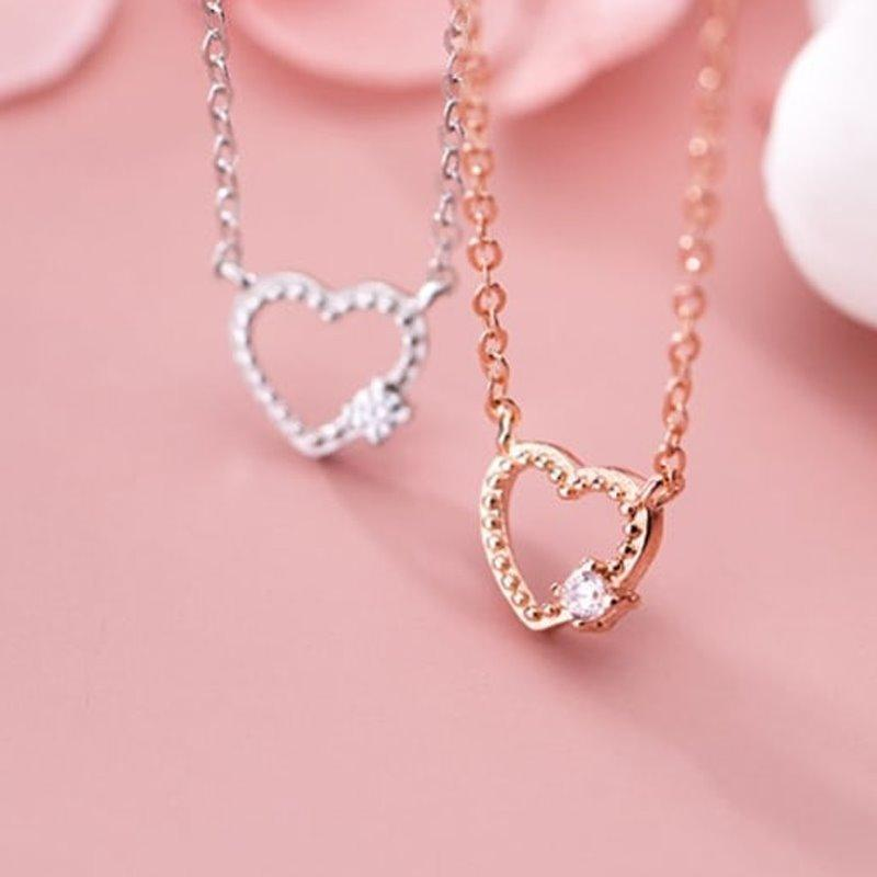 Minimalist Hollow Heart Pendant Necklace AlifJewellery