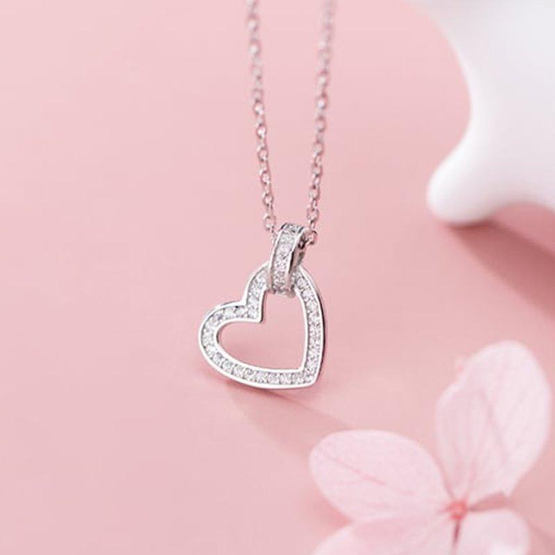 Simplistic Hollow Heart Necklaces AlifJewellery