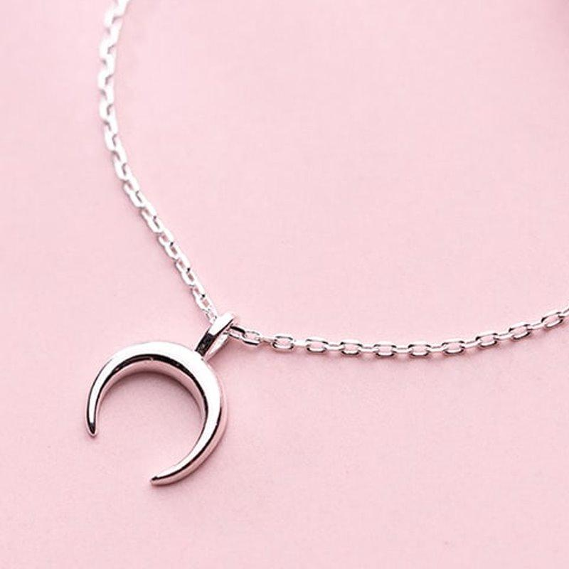 Sweet Curved Moon Necklace AlifJewellery