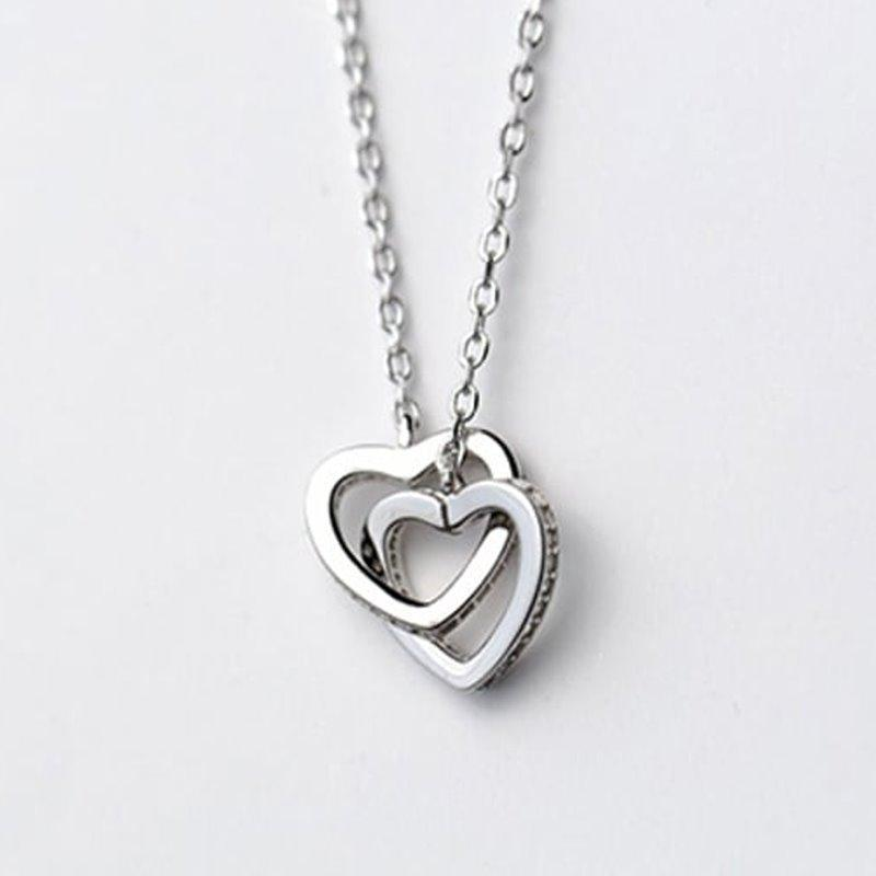Exquisite Double Heart Shaped Necklaces AlifJewellery