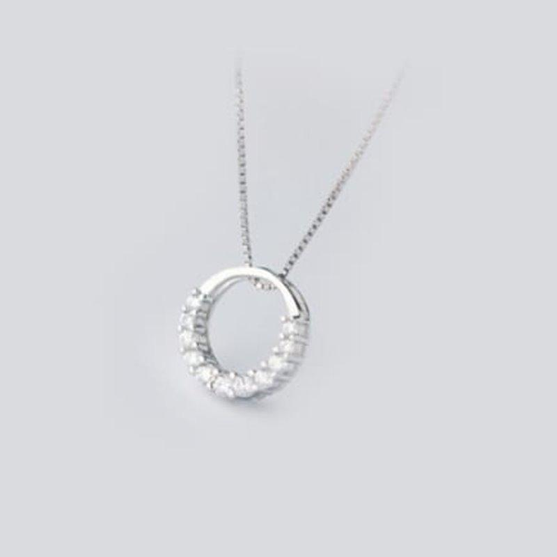 Round Necklace With Cz Necklace AlifJewellery