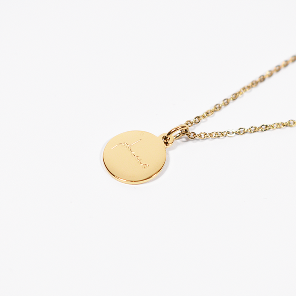 """Muslim"" Gold Round Necklace + Gift Box"