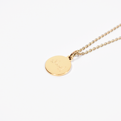 """Iman"" Faith Gold Round Necklace + Gift Box (NEW)"