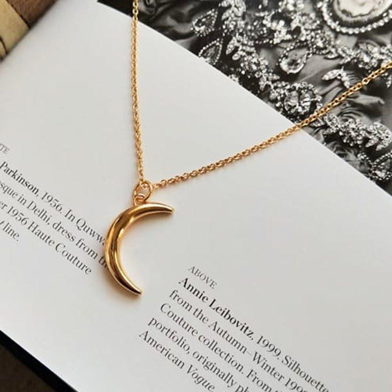 Moon Design Gold Necklace AlifJewellery