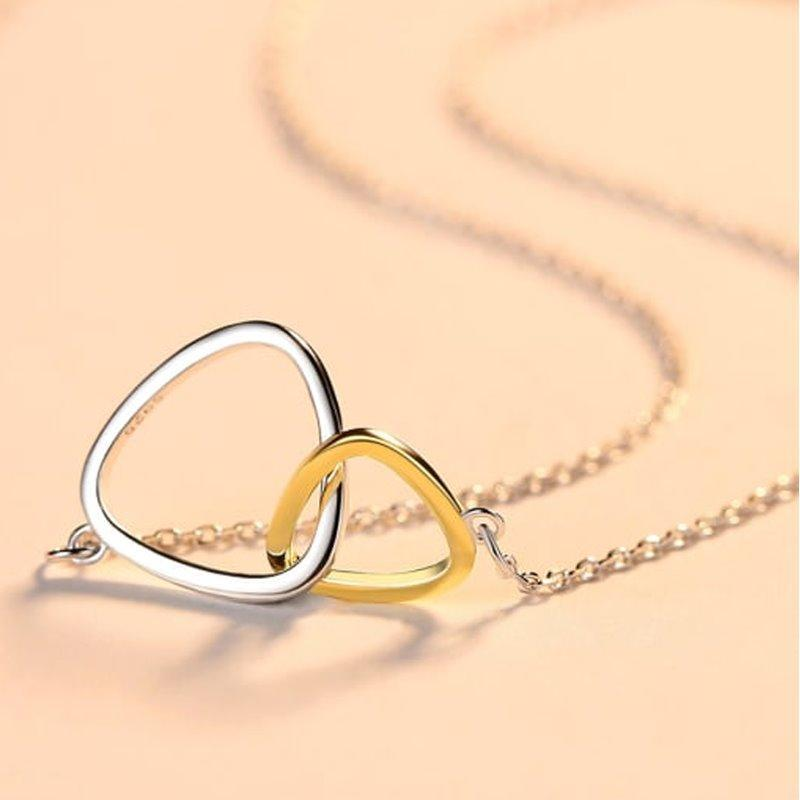 Triangular Double Ring Necklace AlifJewellery