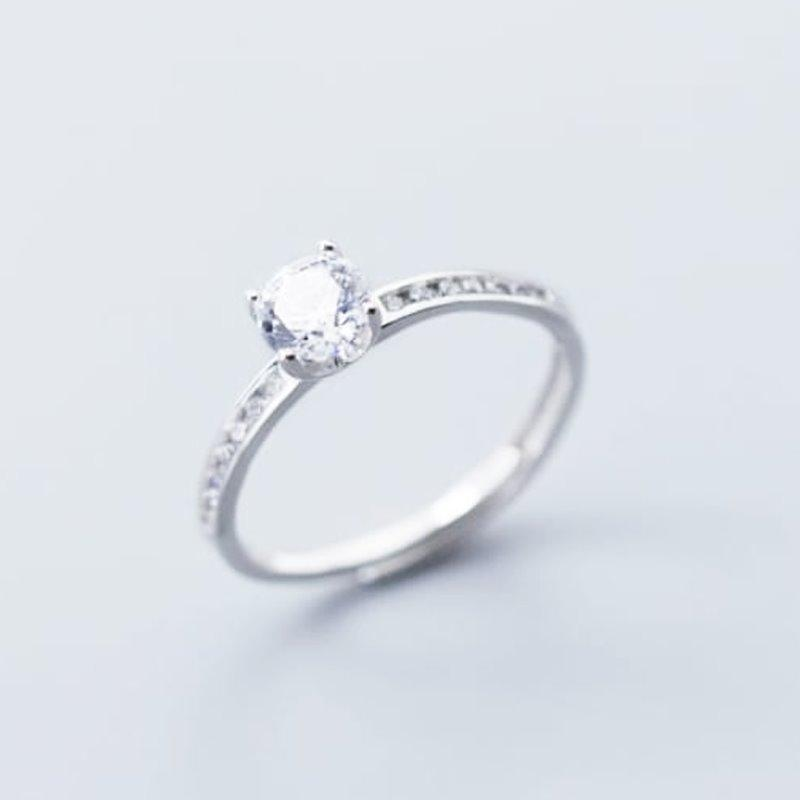 Cubic Zirconia Round Ring - Sterling Silver AlifJewellery