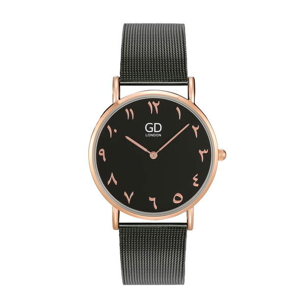 Luxury Unisex Black Arabic Mesh Watch - GetDawah Muslim Clothing