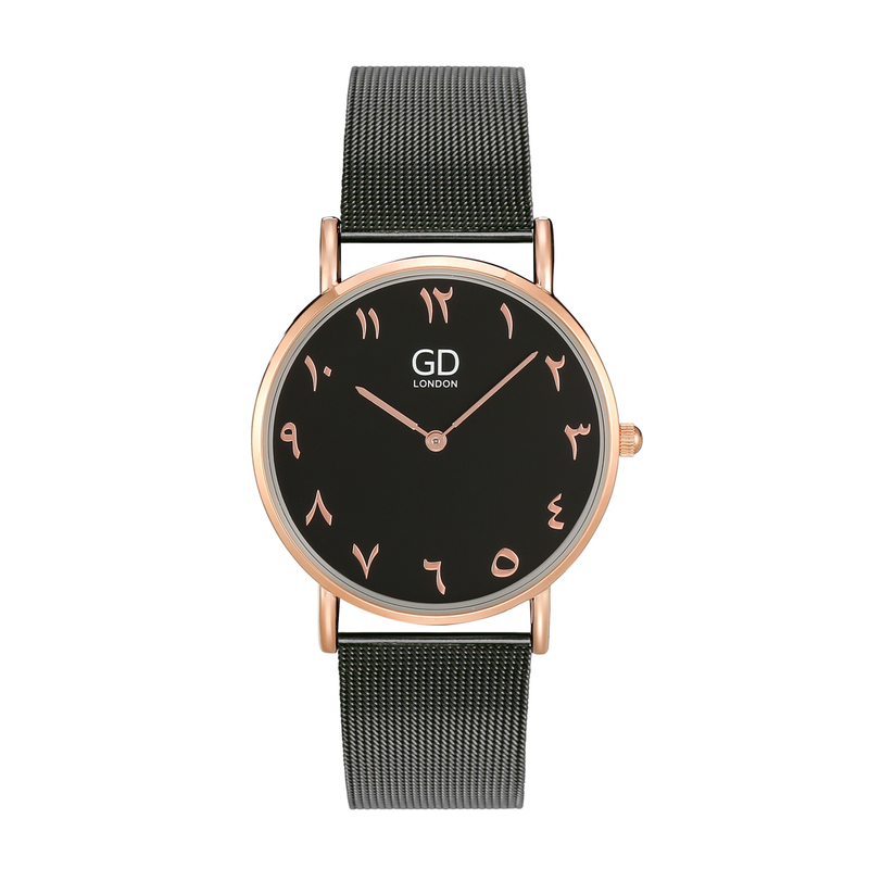 Luxury Unisex Black Arabic Mesh Watch