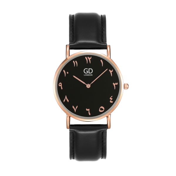 Elegant Unisex Full Black Arabic Leather Watch