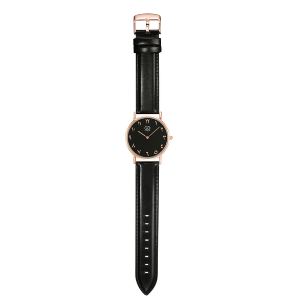 Elegant Unisex Full Black Arabic Leather Watch - GetDawah Muslim Clothing