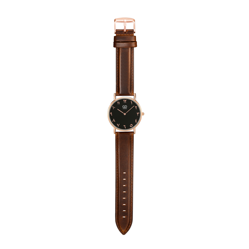 Elegant Unisex Brown/Black Arabic Leather Watch - GetDawah Muslim Clothing
