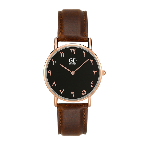 Elegant Unisex Brown/Black Arabic Leather Watch