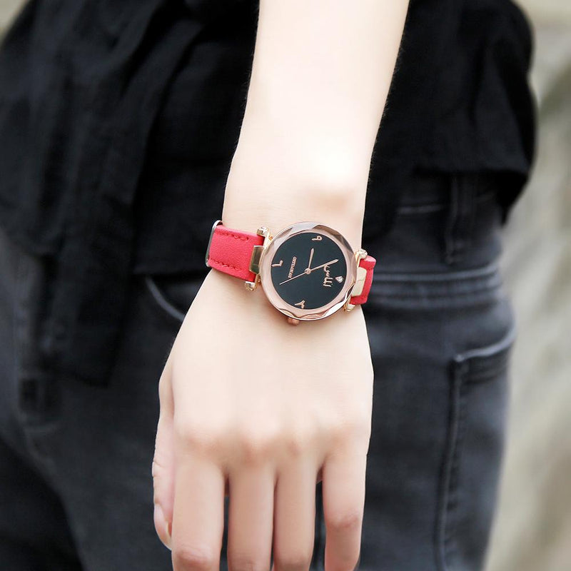 Women's Red Almas Arabic Leather Watch - GetDawah Muslim Clothing