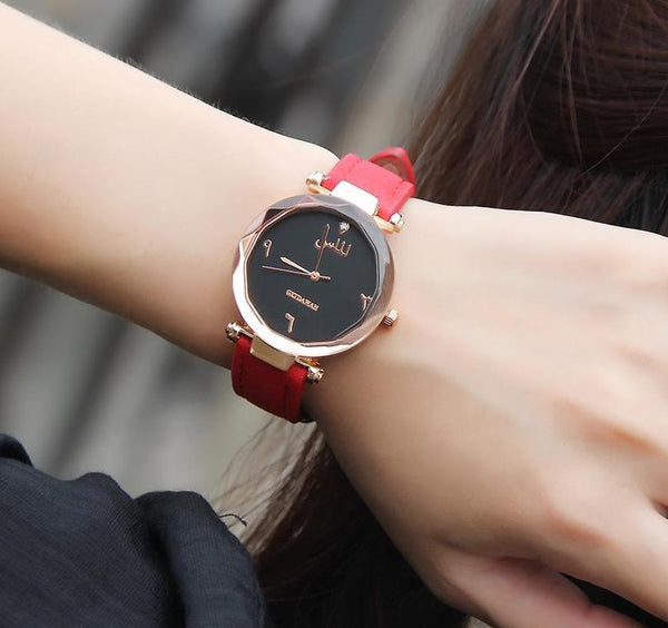Women's Red Almas Arabic Leather Watch - CLEARANCE 🔥 - GetDawah Muslim Clothing