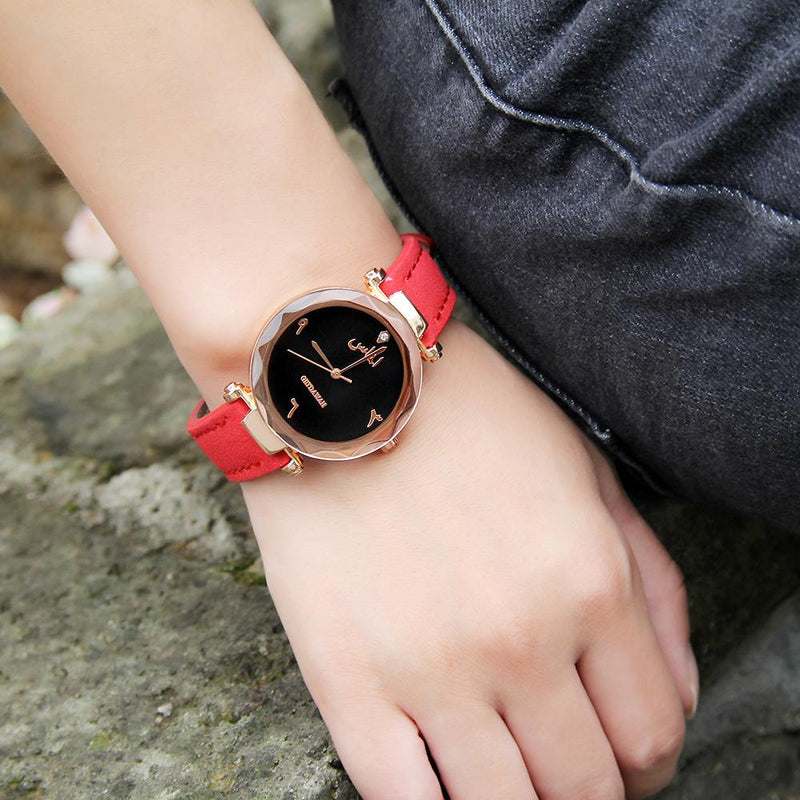 🔥 On Clearance - Women's Red Almas Arabic Leather Watch - GetDawah Muslim Clothing