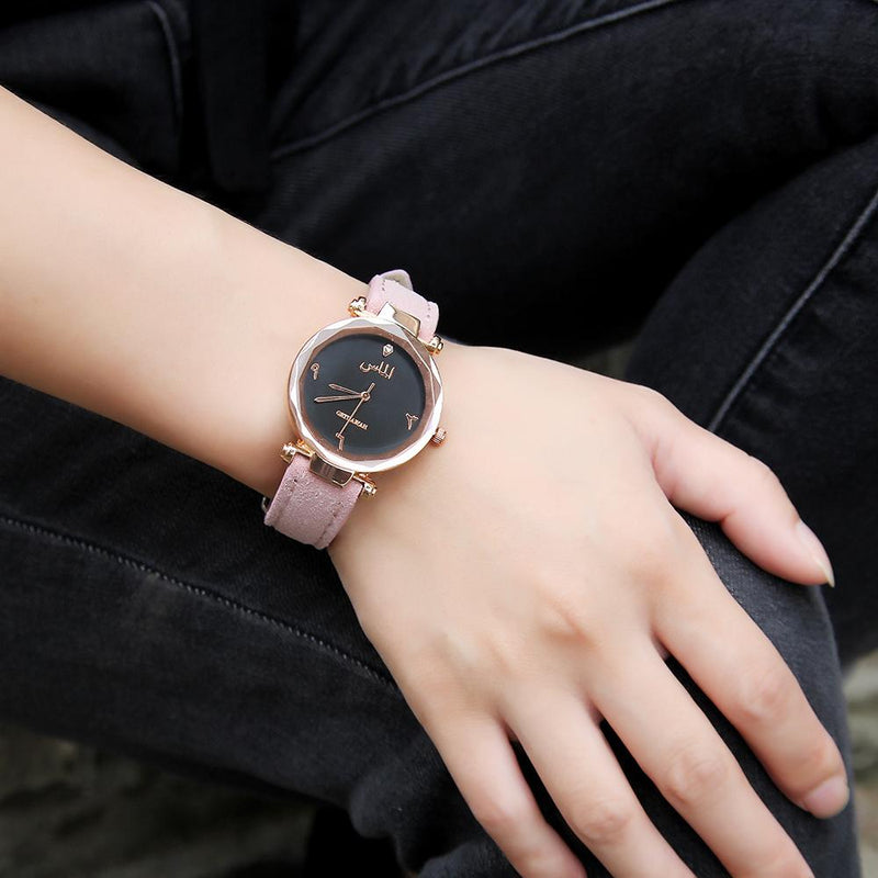 Women's Pink Almas Arabic Leather Watch - Clearance 🔥 - GetDawah Muslim Clothing