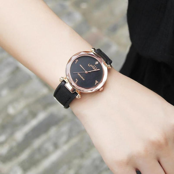 Women's Black Almas Arabic Leather Watch -  - Clearance 🔥 - GetDawah Muslim Clothing