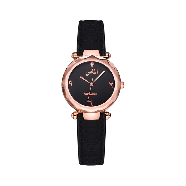 Women's Black Almas Arabic Leather Watch - GetDawah Muslim Clothing