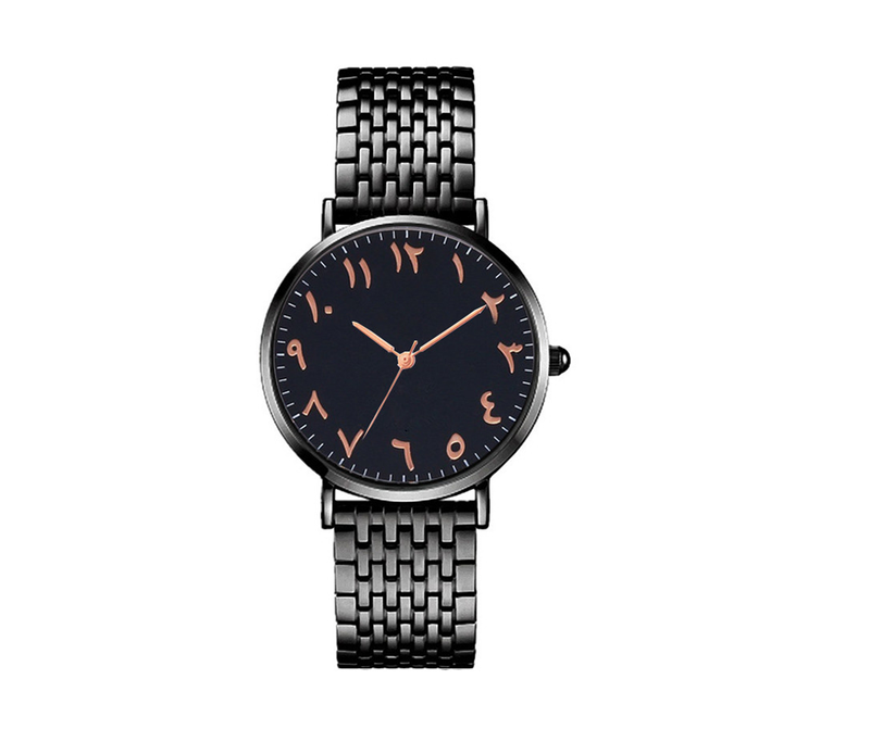 Women Fashion Black Rose Arabic Watch (NEW) - GetDawah Muslim Clothing