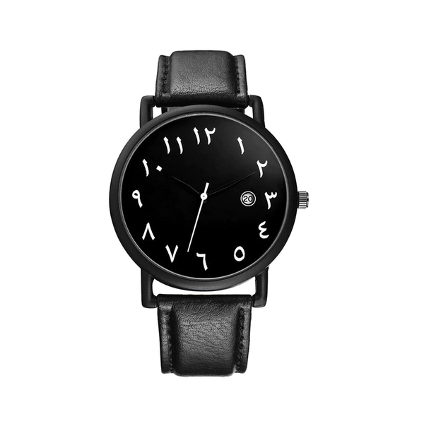 Men Fashion Black Leather Arabic Watch - GetDawah Muslim Clothing