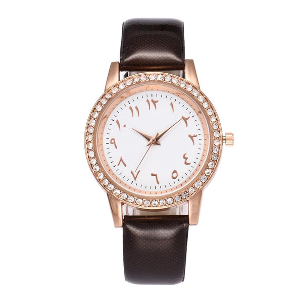 Women's Beautiful Brown Arabic Watch - CLEARANCE SALE - GetDawah Muslim Clothing