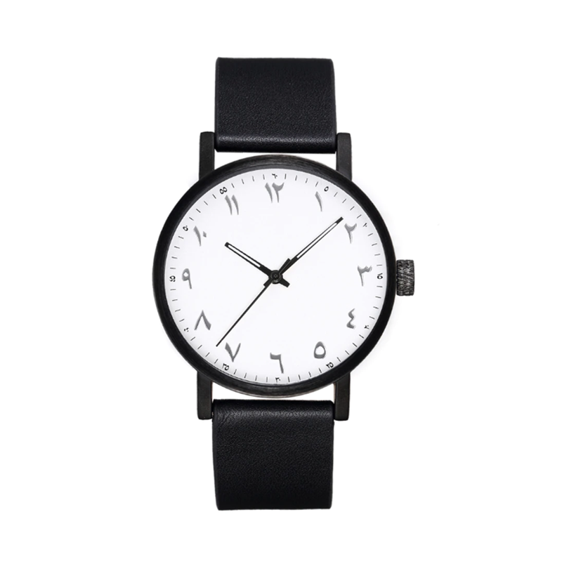 Unisex Luxury Black Leather Arabic Watch (New) - GetDawah Muslim Clothing
