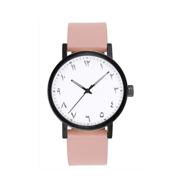 Unisex Luxury Light Pink Leather Arabic Watch (New) - GetDawah Muslim Clothing