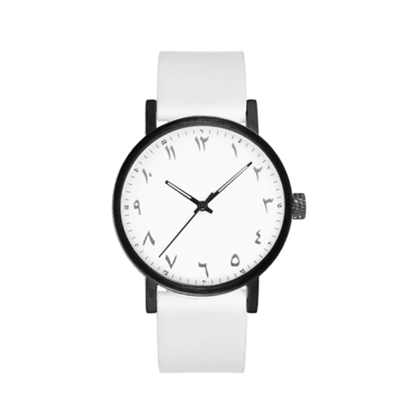 Unisex Luxury White Leather Arabic Watch (New) - GetDawah Muslim Clothing