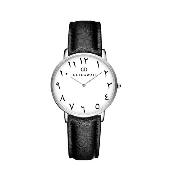 Women's Black Arabic Leather Watch - GetDawah Muslim Clothing