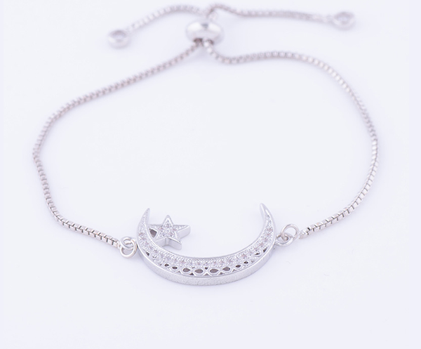 Beautiful Crescent Moon Bracelet in Silver - GetDawah Muslim Clothing