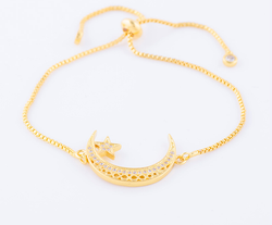 Beautiful Crescent Moon Bracelet in Gold Colour - GetDawah Muslim Clothing