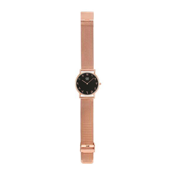 Luxury Unisex Rose Gold/Black Arabic Mesh Watch - GetDawah Muslim Clothing