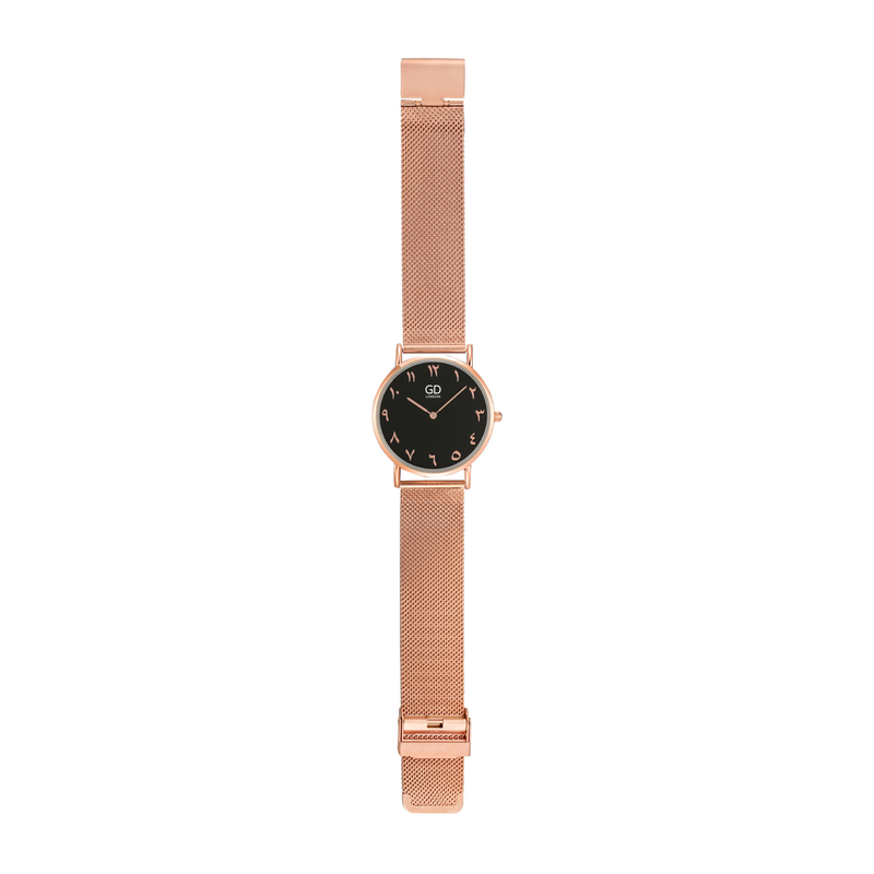 Luxury Unisex Rose Gold/Black Arabic Mesh Watch