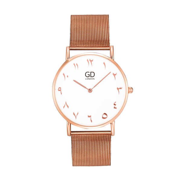 Luxury Unisex Rose Gold Arabic Mesh Watch