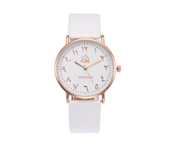 Beautiful Women's White Jannah Arabic Leather Watch - GetDawah Muslim Clothing