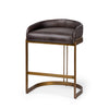 Hollyfield Counter + Bar Stool - Dark Brown Leather Seat