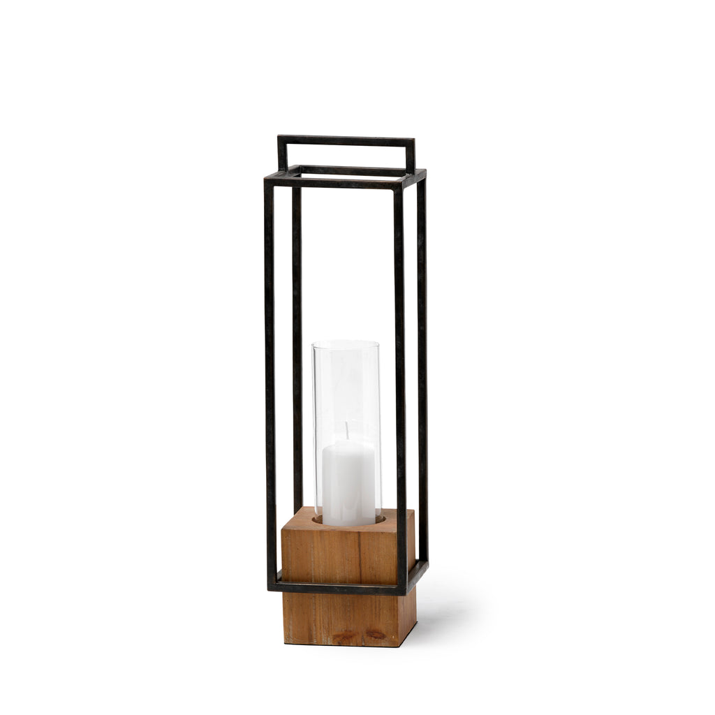 Orionis Metal and Wood Candle Holder Lantern - Small