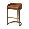 Hollyfield Counter + Bar Stool - Brown Leather Seat
