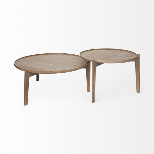 Cleaver (Set of 2) Round Brown Solid Wood Nesting Coffee Tables