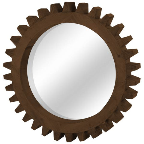 Cog II Natural Wood Mirror