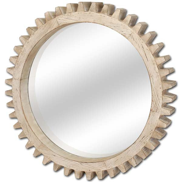 Cog Natural Wood Mirror in Rustic Finish - Adore Interiors - 1