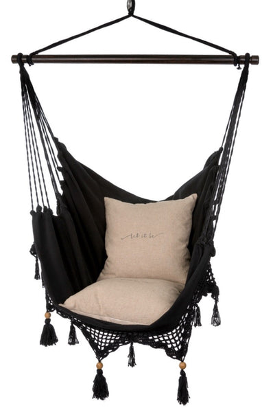 Boho Crocheted Chair Hammock - Black - Indaba - 1
